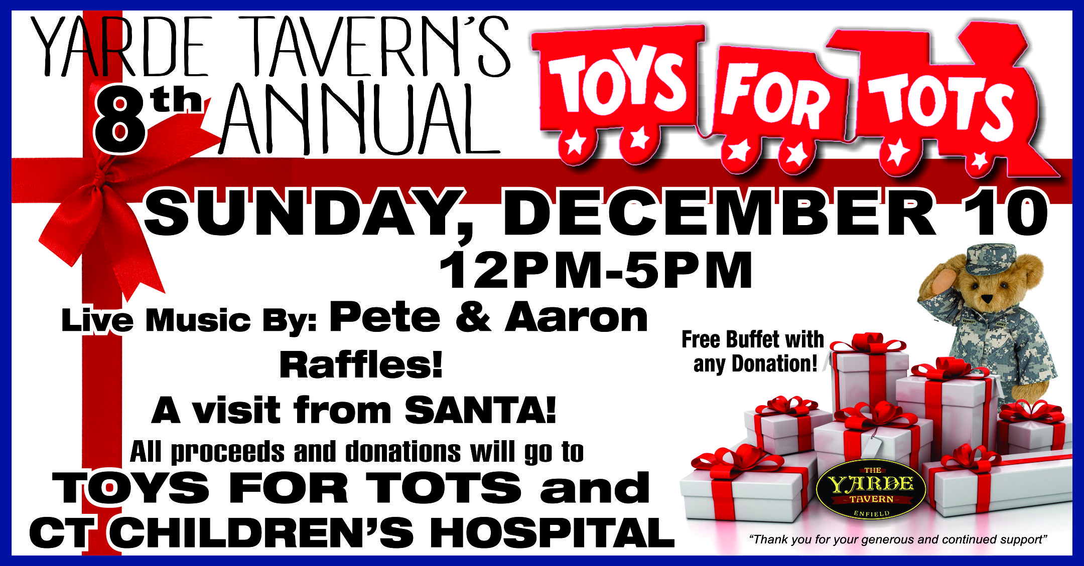 Toys For Tots Food : Toys for tots yarde tavern beers on tap great food